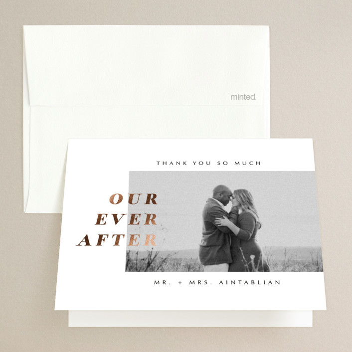"""""""Our Ever After"""" - Foil-pressed Folded Thank You Card in Noir by Up Up Creative."""