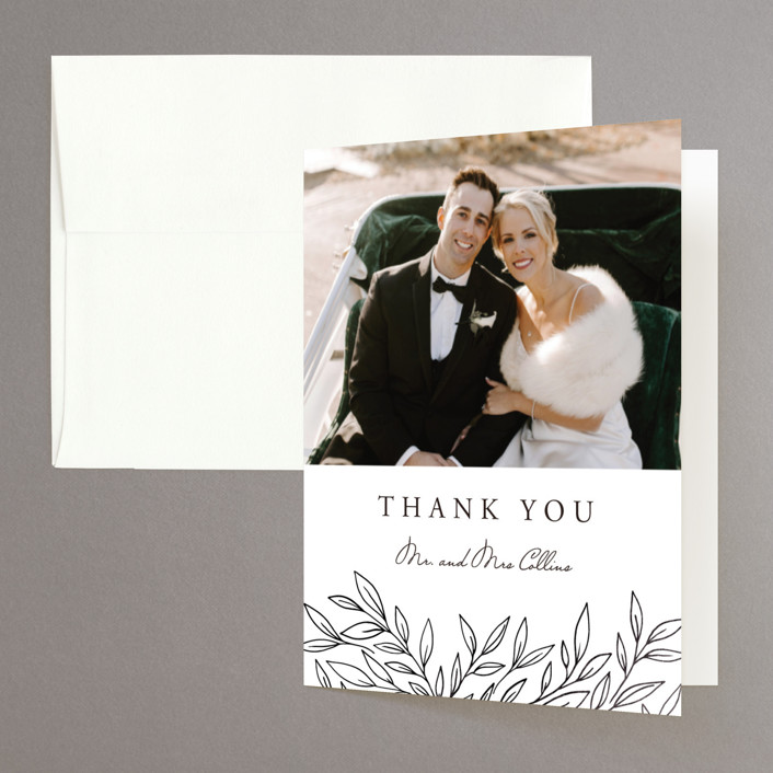 """Element"" - Foil-pressed Folded Thank You Card in Tuxedo by Yuliya Evseeva."