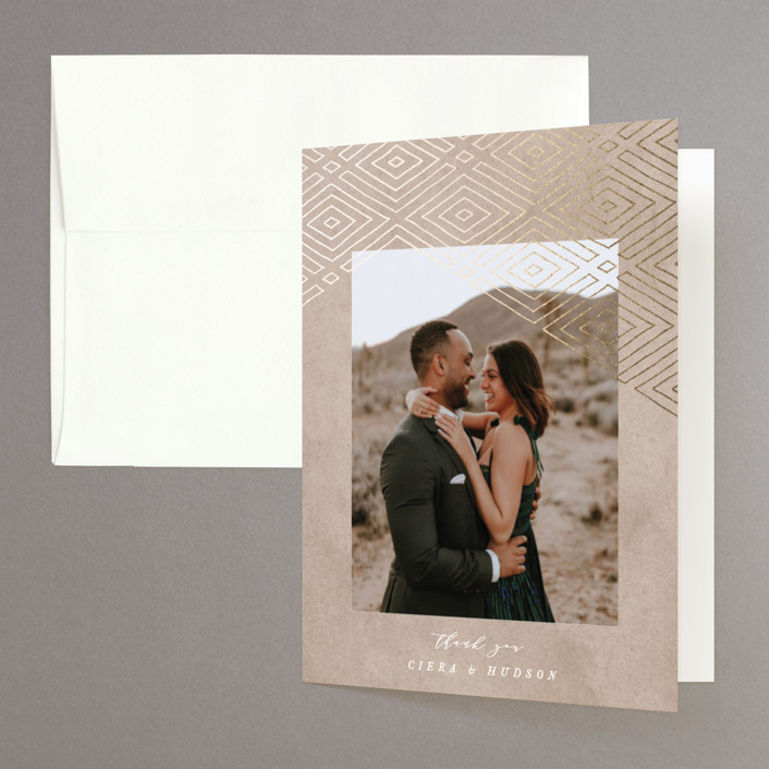 """""""Geometrica"""" - Bohemian Foil-pressed Folded Thank You Card in Sand by Owl and Toad."""