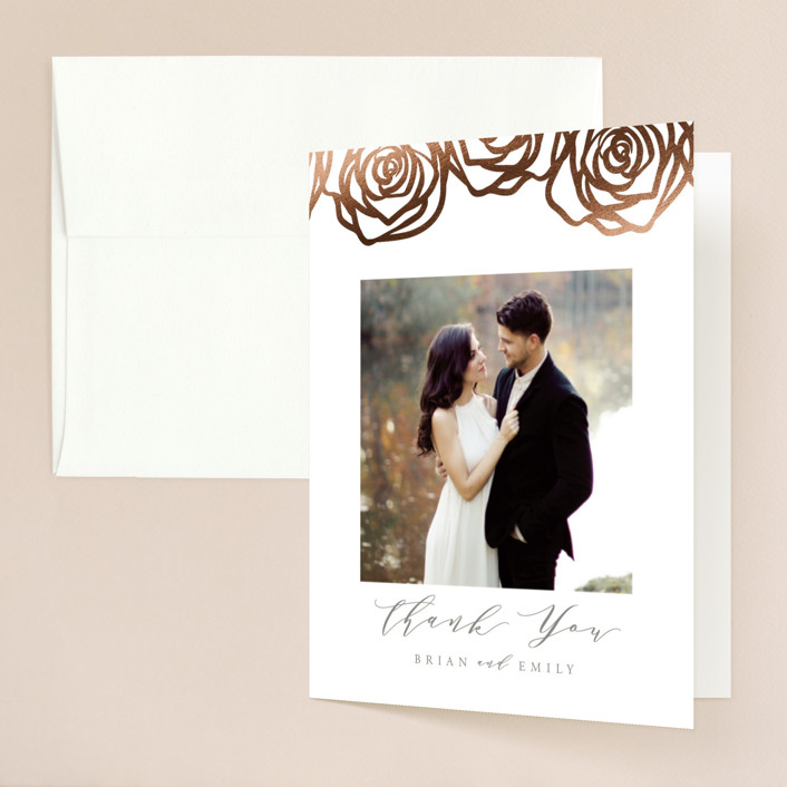 """""""Rose Box"""" - Foil-pressed Folded Thank You Card in Warm Gray by Melinda Denison."""