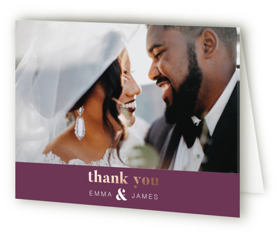 This is a landscape bold and typographic, purple Wedding Thank You Cards by Reilley Barringer called Gold Ampersand with Foil Pressed printing on Standard Cover in minibook fold over (blank inside) format. This dramatic foil pressed wedding invite is perfect ...