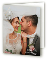 This is a grey wedding thank you card by Liz Conley called A Diamond Monogram with foil-pressed printing on strathmore in standard.