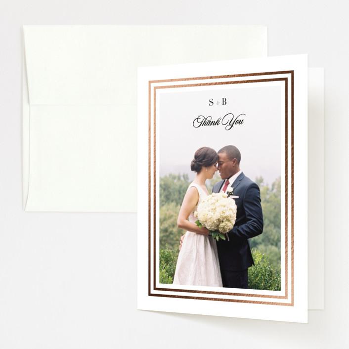 """Side by Side"" - Foil-pressed Folded Thank You Card in Tuxedo by Carolyn MacLaren."