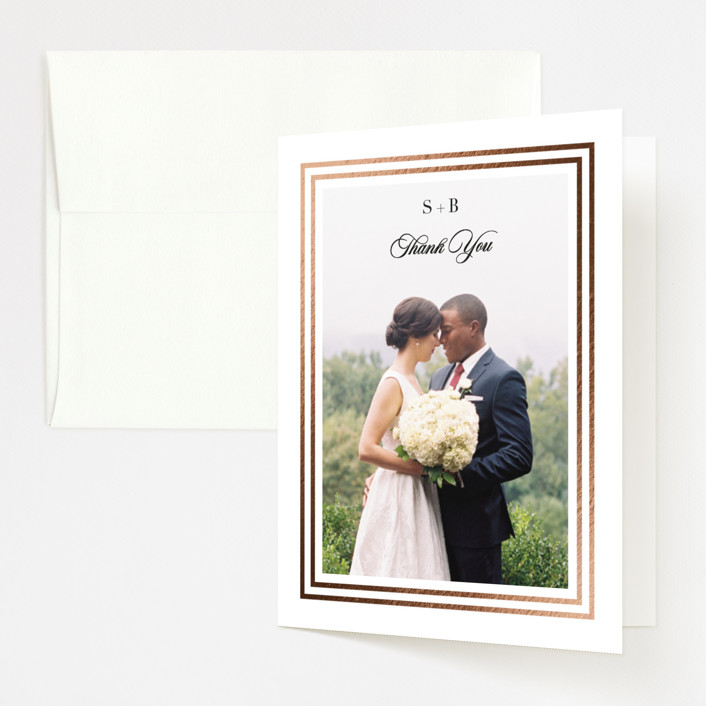 """Side by Side"" - Foil-pressed Folded Thank You Card in Tuxedo by Carolyn MacLaren."