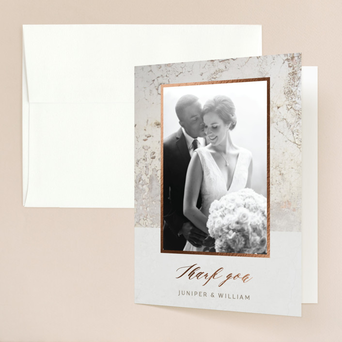 """Juniper"" - Modern Foil-pressed Folded Thank You Card in Cream by Basil Design Studio."