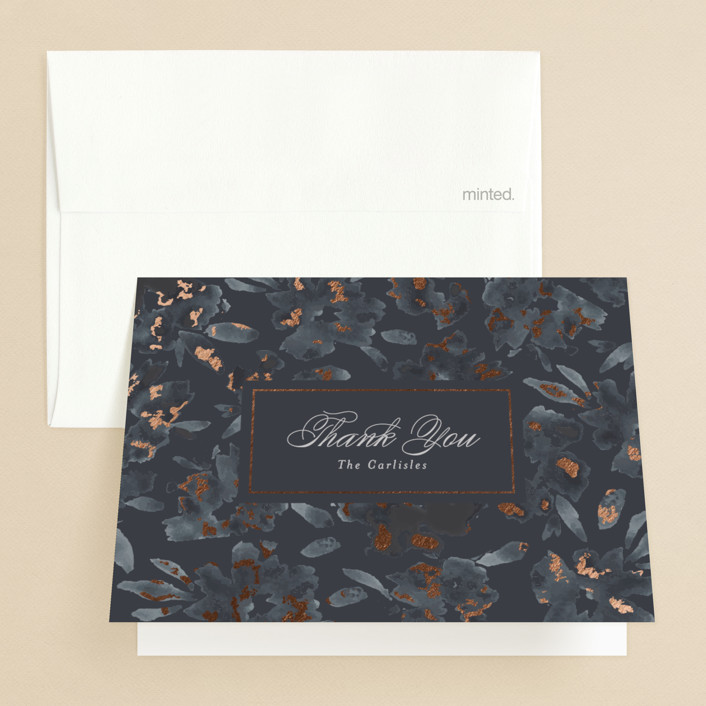 """Carolina"" - Rustic Foil-pressed Folded Thank You Card in Dusty Blue by Meagan Christensen."