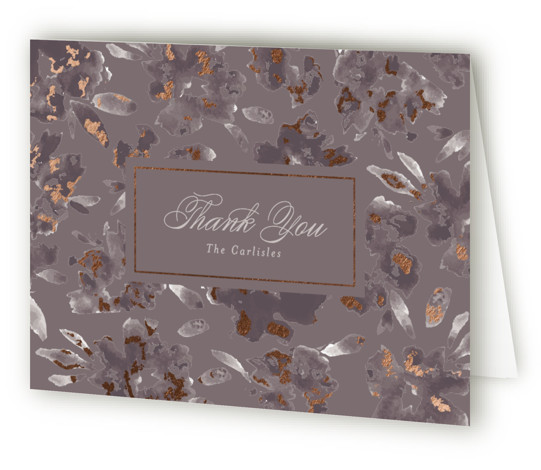 This is a landscape botanical, rustic, purple Wedding Thank You Cards by Little Words Design called Carolina with Foil Pressed printing on Standard Cover in minibook fold over (blank inside) format. A sophisticated, garden inspired watercolor floral invitation mixed with ...