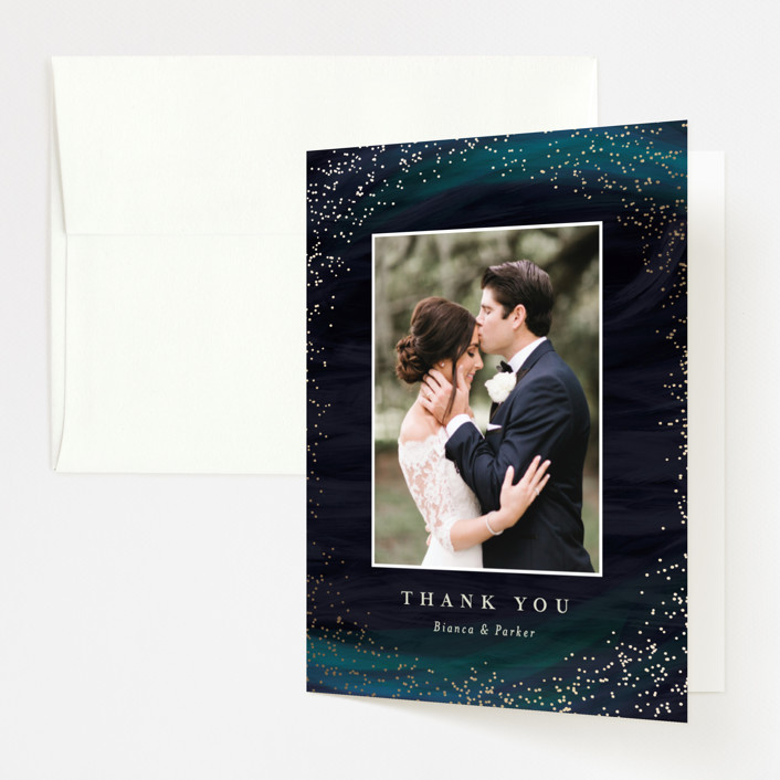 """""""borealis"""" - Modern Foil-pressed Thank You Cards in Zircon by chocomocacino."""