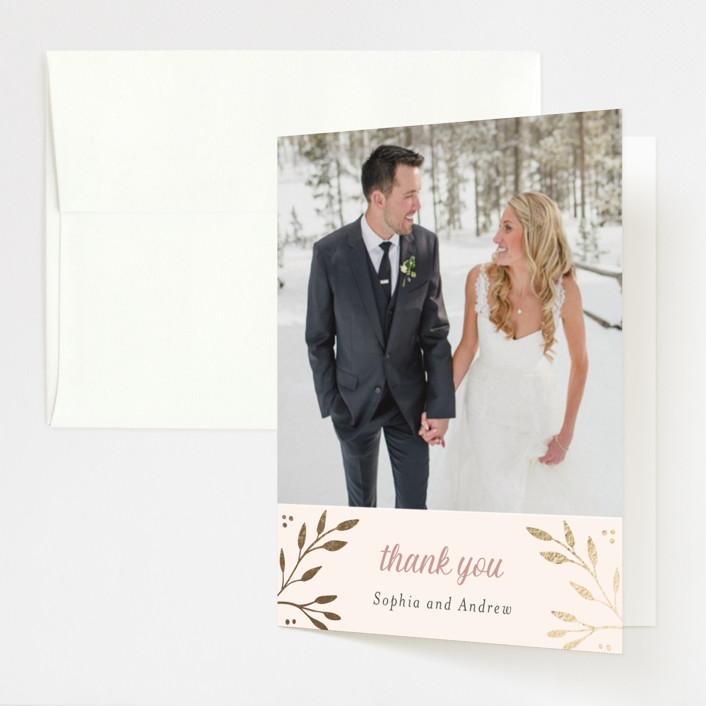 """""""Vineyard"""" - Foil-pressed Folded Thank You Card in Blush by Tennie and Co.."""