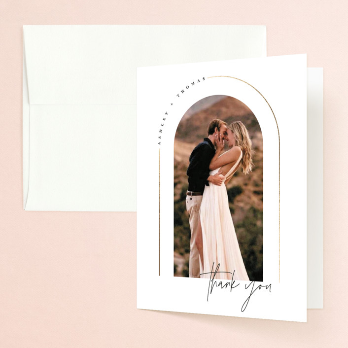 """""""Arch"""" - Foil-pressed Folded Thank You Card in Silk by Kelly Schmidt."""