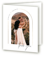 This is a white wedding thank you card by Kelly Schmidt called Arch with foil-pressed printing on strathmore in standard.