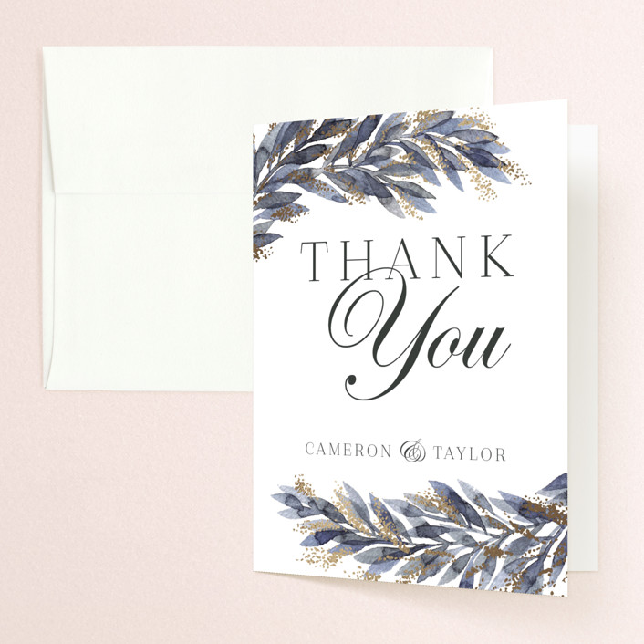 """""""winter elegance"""" - Bohemian Foil-pressed Folded Thank You Card in Winter by Alexandra Dzh."""