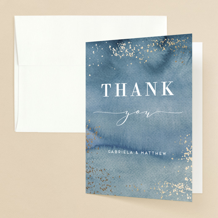 """""""Abstract seaside"""" - Bohemian Foil-pressed Folded Thank You Card in Seaside by Alexandra Dzh."""