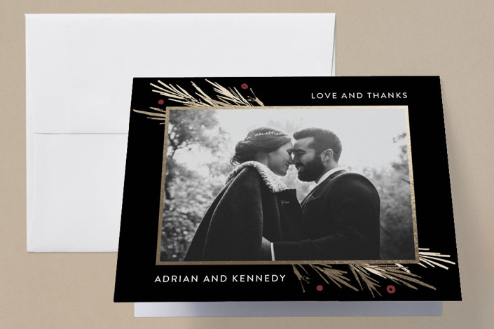 """""""Winter Berry"""" - Rustic Foil-pressed Thank You Cards in Tuxedo by Kelly Nasuta."""