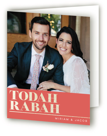 This is a landscape bold and typographic, orange Wedding Thank You Cards by Laura Bolter Design called Smash the Glass with Foil Pressed printing on Standard Cover in minibook fold over (blank inside) format. Bold, non traditional Jewish design