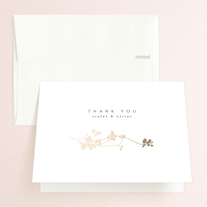 """""""Mist"""" - Foil-pressed Folded Thank You Card in Ivory by Kelly Schmidt."""