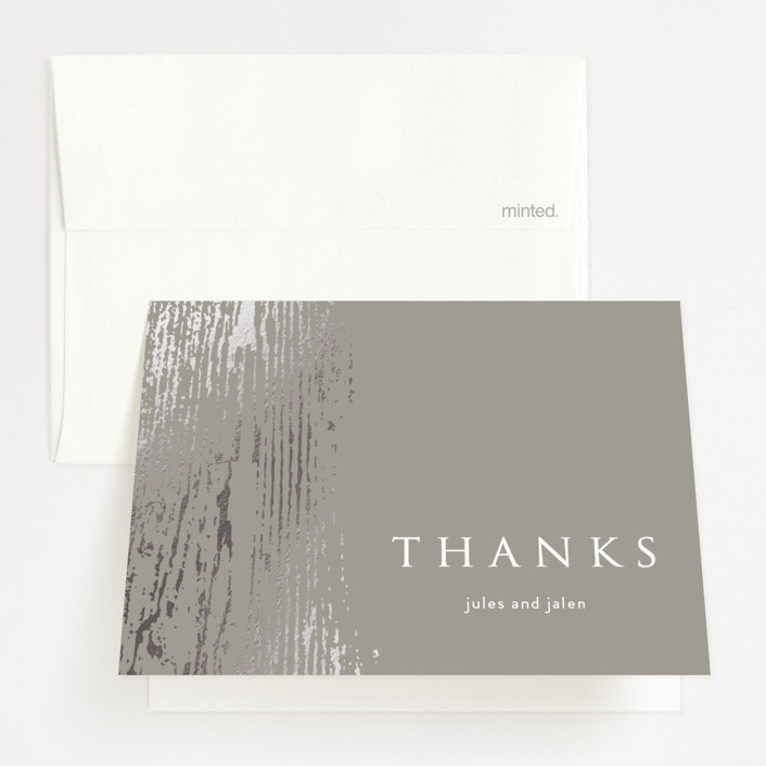 """Barn Wood"" - Foil-pressed Thank You Cards in Charcoal by Julia Hall."