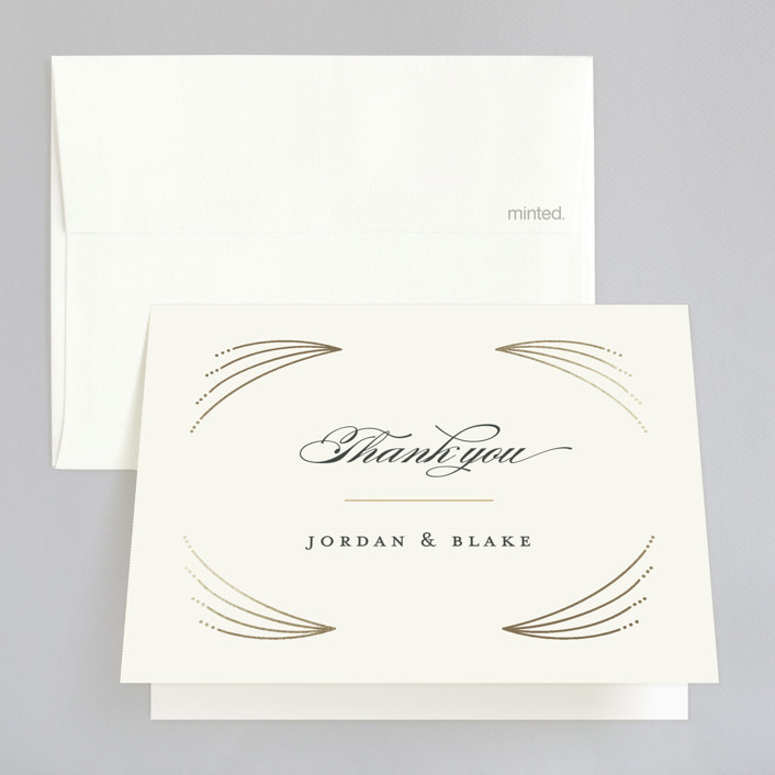 """Arched wedding"" - Foil-pressed Thank You Cards in Bisque by Jennifer Wick."