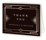 This is a black wedding thank you card by Katie Zimpel called Social Distancing with foil-pressed printing on strathmore in standard.