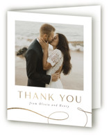 This is a white wedding thank you card by Jen Banks of Ink and Letter called Forever And with foil-pressed printing on strathmore in standard.