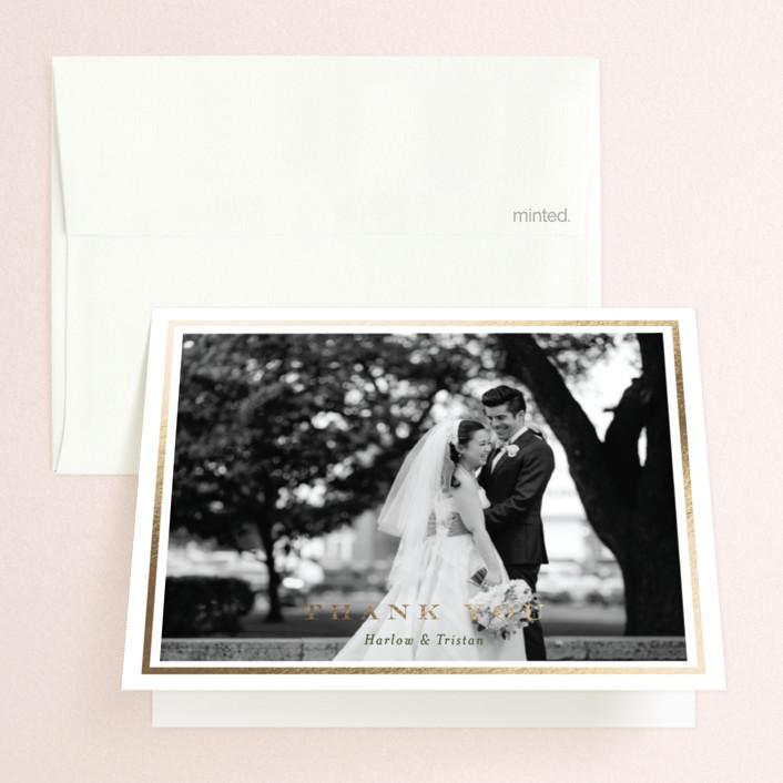 """Botanical Frame"" - Foil-pressed Folded Thank You Card in Garden by Jana Volfova."