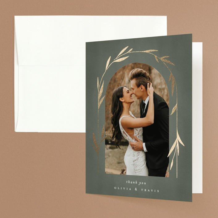 """""""Minimal Circle"""" - Foil-pressed Folded Thank You Card in Moss by Kelly Schmidt."""