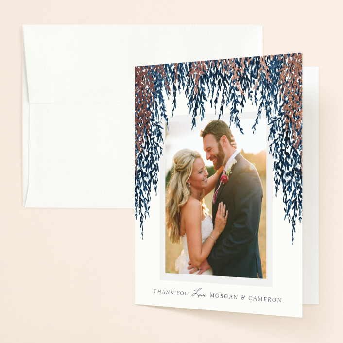 """""""In Love"""" - Foil-pressed Thank You Cards in Cobalt by Elly."""