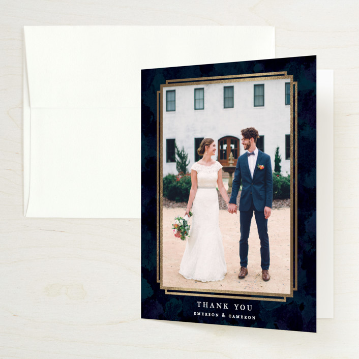 """Classic Affair"" - Foil-pressed Thank You Cards in Navy by Grace Kreinbrink."