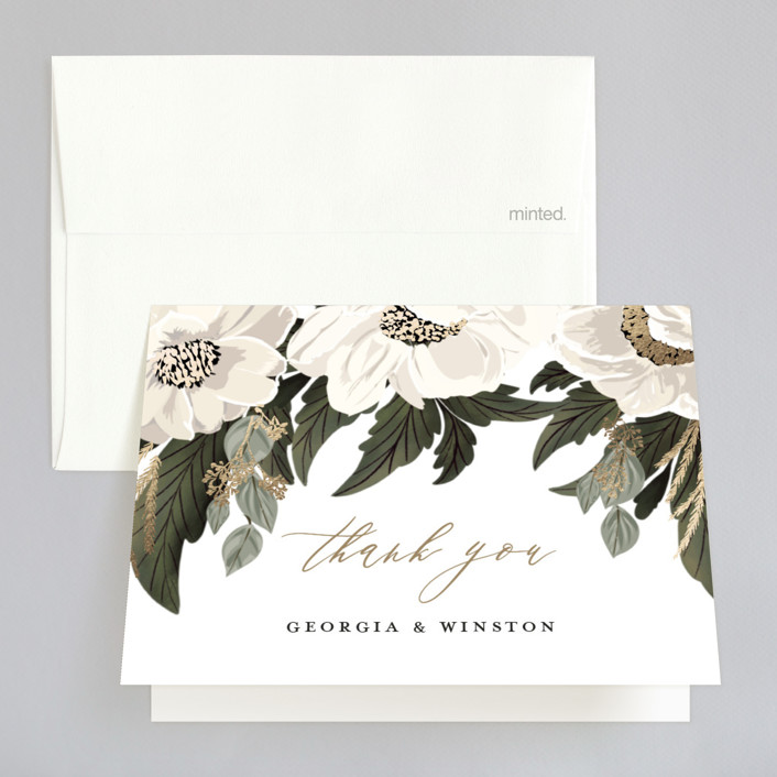 """""""Floral Sweep"""" - Rustic Foil-pressed Folded Thank You Card in Powder by Susan Moyal."""