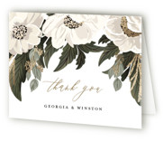 This is a green wedding thank you card by Susan Moyal called Floral Sweep with foil-pressed printing on strathmore in standard.