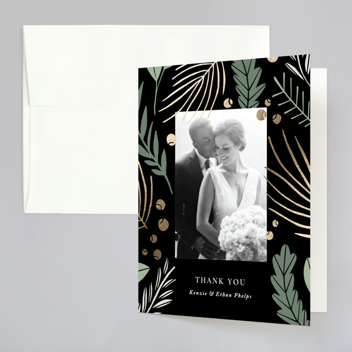 """""""Novel Charm"""" - Rustic Foil-pressed Folded Thank You Card in Jade by Olivia Raufman."""
