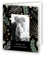 This is a black wedding thank you card by Olivia Raufman called Novel Charm with foil-pressed printing on strathmore in standard.