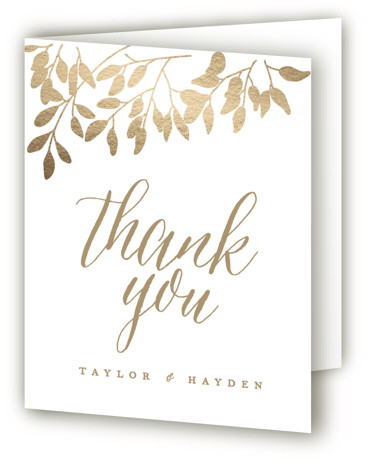 This is a portrait botanical, rustic, yellow Wedding Thank You Cards by Angela Thompson called Fall in Love with Foil Pressed printing on Standard Cover in minibook fold over (blank inside) format. Branches with flowing autumn leaves paired with elegant ...
