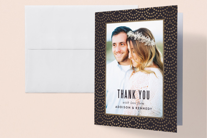 """""""Shimmer"""" - Vintage Foil-pressed Thank You Cards in Indigo by Kampai Designs."""