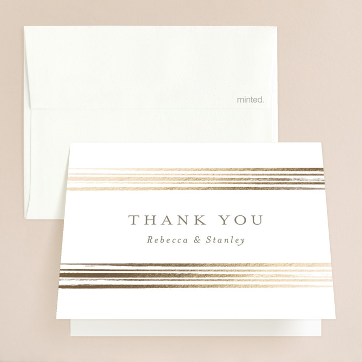 """Bianco"" - Modern Foil-pressed Folded Thank You Card in Gold by chocomocacino."