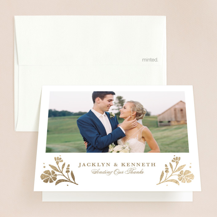 """""""Jasmine"""" - Foil-pressed Folded Thank You Card in Golden Hour by Kristen Smith."""