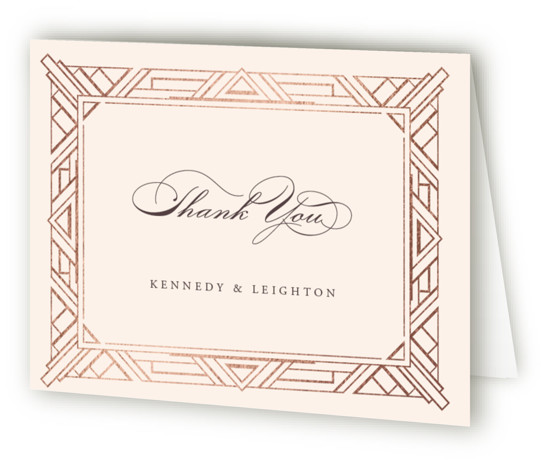 This is a landscape abstract geometric, classical, elegant, formal, metallic, vintage, beige Wedding Thank You Cards by Hooray Creative called Opulent Border with Foil Pressed printing on Standard Cover in minibook fold over (blank inside) format. A custom, art deco ...