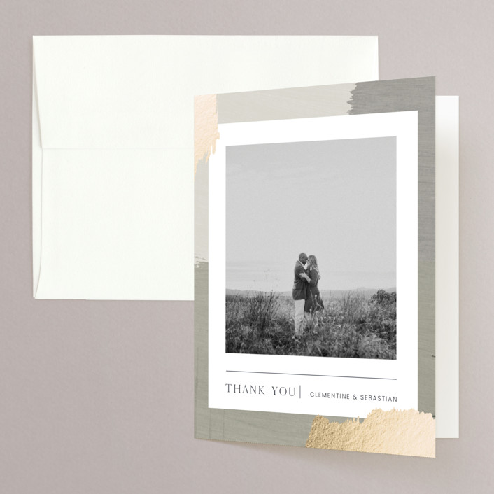 """""""Textural"""" - Modern Foil-pressed Folded Thank You Card in Forest Walks by Blustery August."""