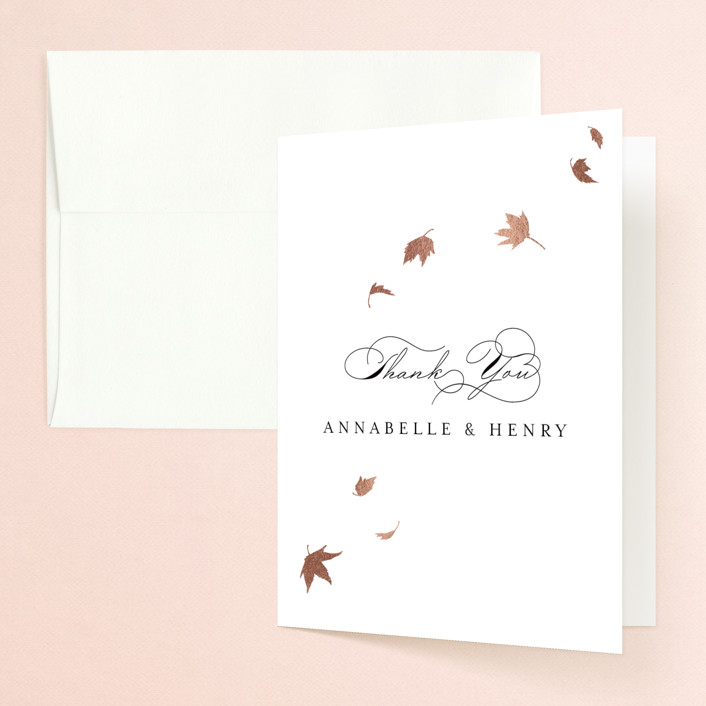 """""""Pirouette"""" - Rustic Foil-pressed Folded Thank You Card in Noir by Kimberly FitzSimons."""