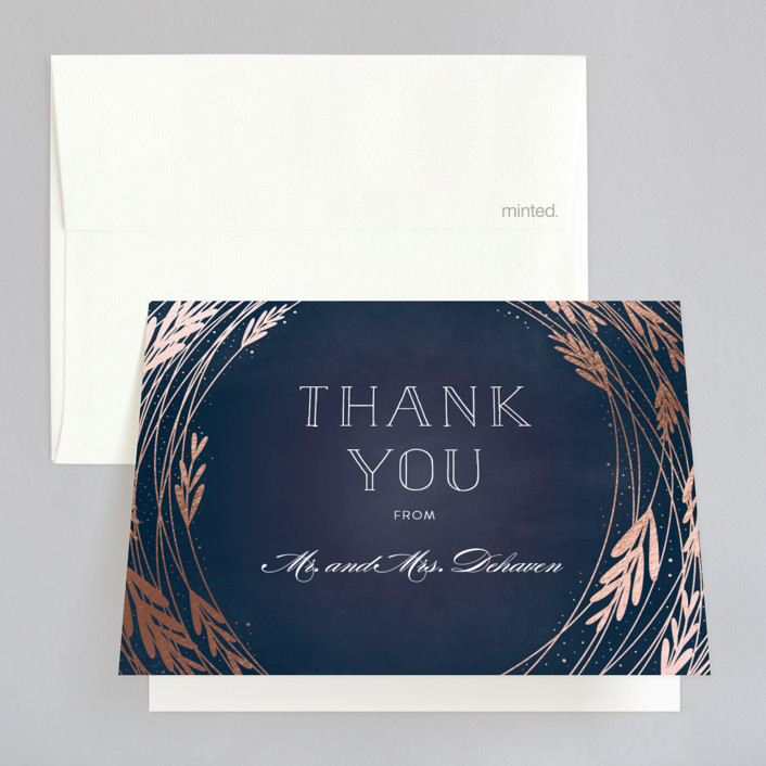 """Foiled Vines"" - Foil-pressed Thank You Cards in Midnight by Bethany Anderson."