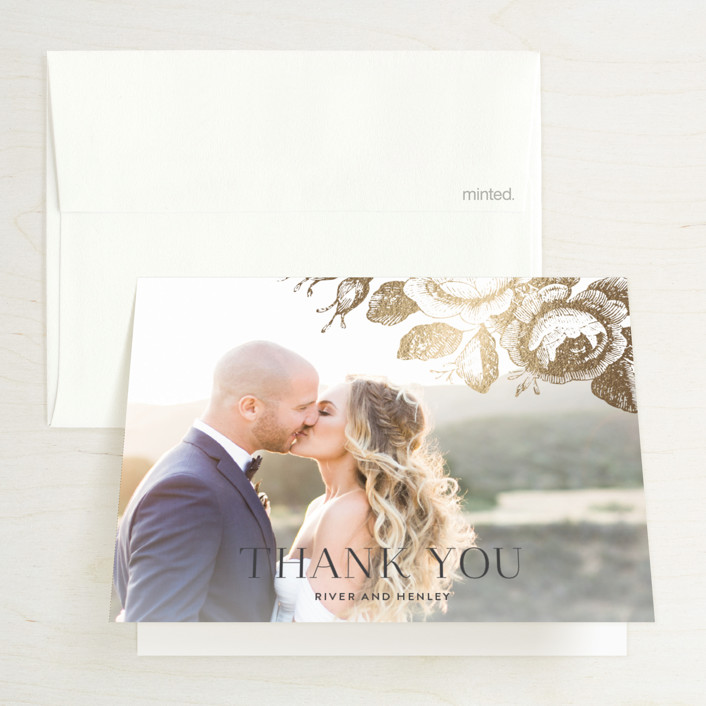 """Beloved"" - Foil-pressed Thank You Cards in Mist by Design Lotus."