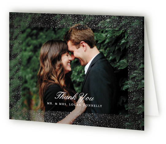 This is a blue, white, silver Wedding Thank You Cards by Erin Deegan called glittered with Foil Pressed printing on Standard Cover in minibook fold over (blank inside) format. Foil pressed wedding invitation with a golden frame of glittering dots. ...