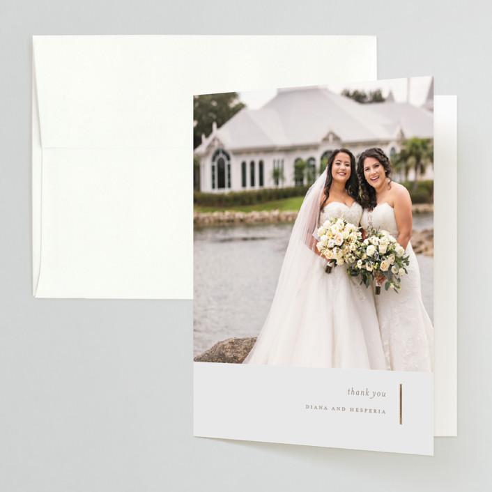 """Lydra"" - Foil-pressed Folded Thank You Card in Magnolia by elena diaz."