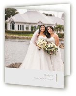 This is a brown wedding thank you card by elena diaz called Lydra with foil-pressed printing on strathmore in standard.