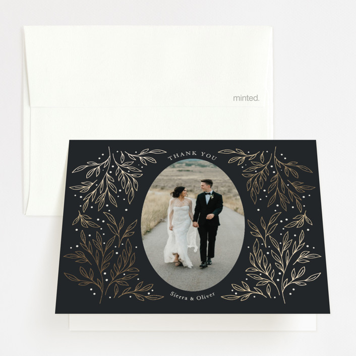 """Classic Elegance"" - Foil-pressed Thank You Cards in Smoke by Lorent and Leif."