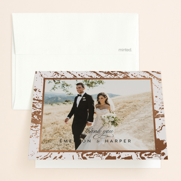 """""""Modern Marble"""" - Rustic Foil-pressed Folded Thank You Card in Cloud by Kelly Schmidt."""