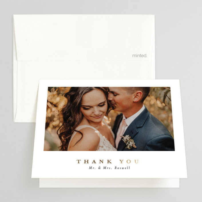 """""""Ethereal Romance"""" - Modern Foil-pressed Folded Thank You Card in Stone by Corinne Malesic."""