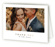 This is a grey wedding thank you card by Corinne Malesic called Ethereal Romance with foil-pressed printing on strathmore in standard.