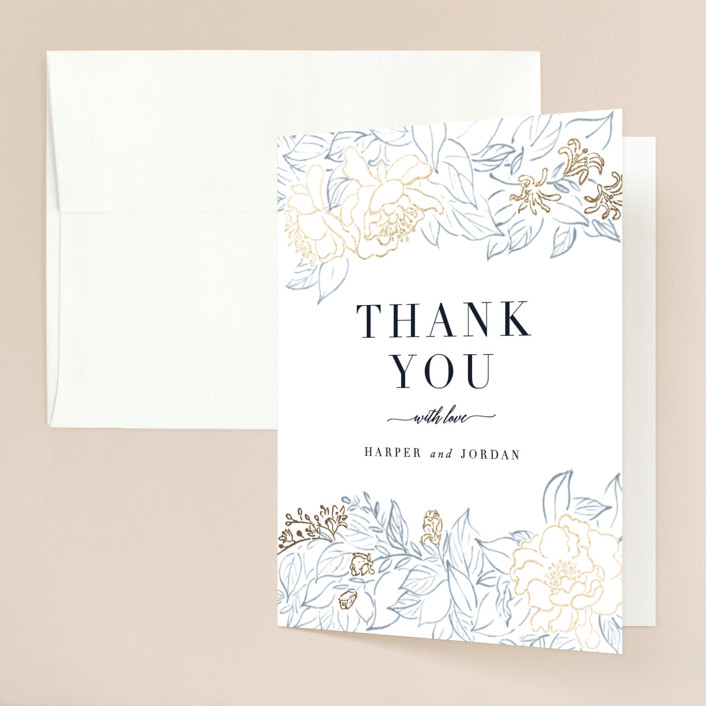 """""""Lush Garden"""" - Foil-pressed Folded Thank You Card in Cobalt by Qing Ji."""