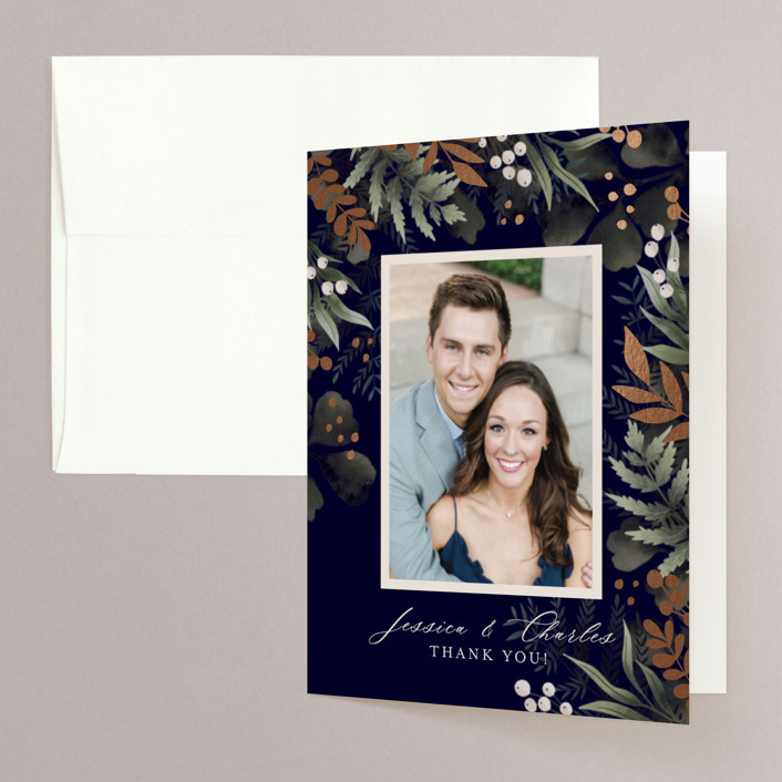 """""""wedding nosegay"""" - Foil-pressed Folded Thank You Card in Marine by Chris Griffith."""
